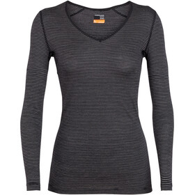 Icebreaker 200 Oasis LS V Shirt Women black-snow-stripe